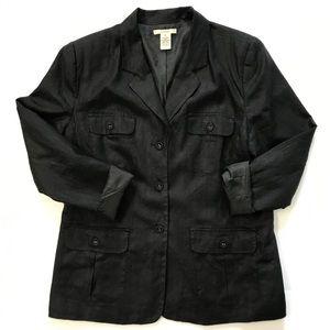 Linen black jacket blazer size XL